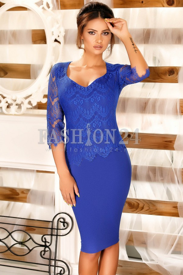 Rochie Cu Dantela Blue Lace Long