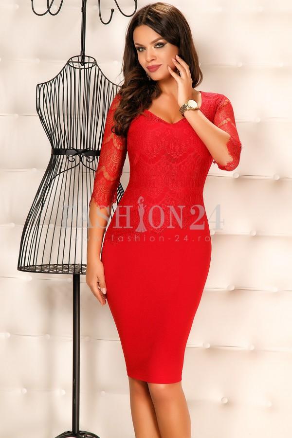 Rochie Cu Dantela Red Lace New