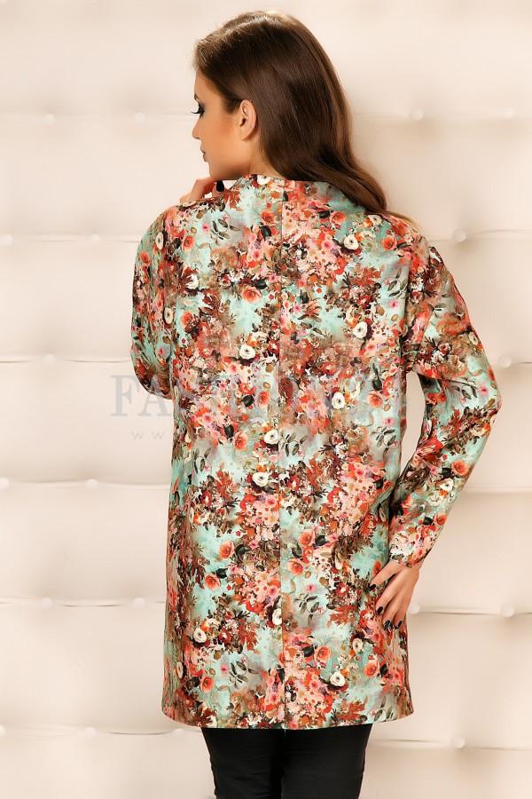 Palton Cu Imprimeuri Bianca