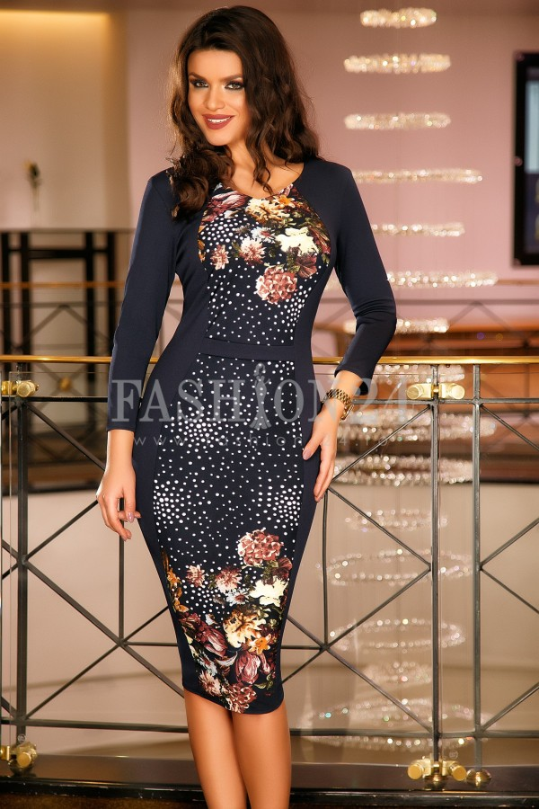 Rochie Rosalyn Brown Flowers