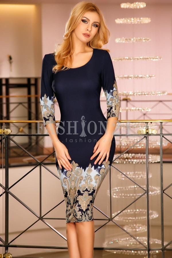 Rochie Savannah Blue&Gold