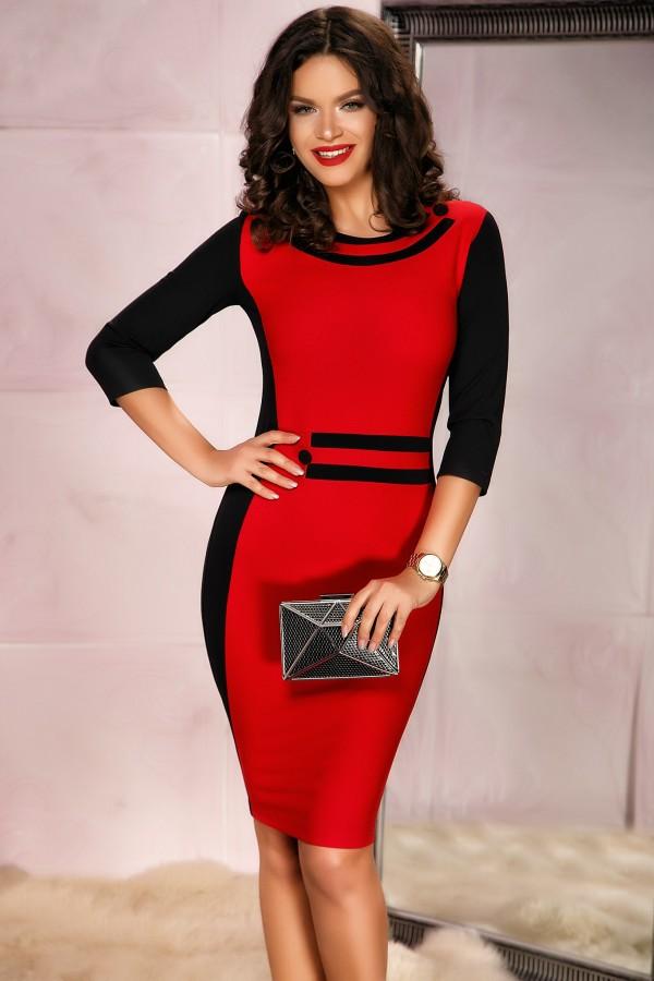 Rochie rosie cu design in talie