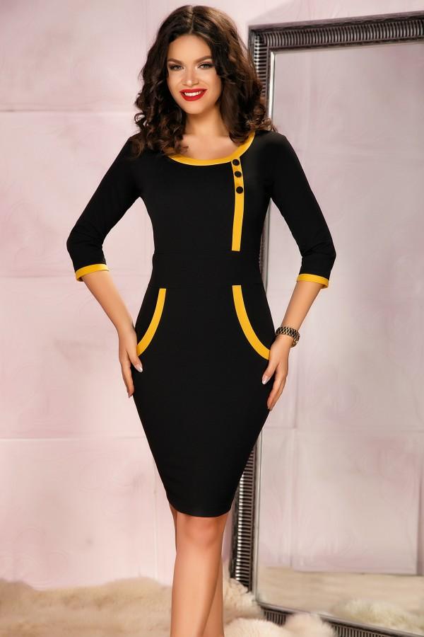 Rochie neagra eleganta cu design