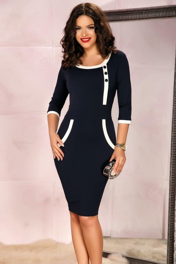 Rochie bleumarin eleganta cu design