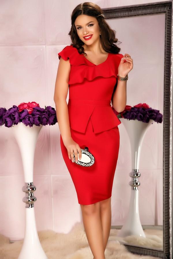 Rochie rosie de seara eleganta