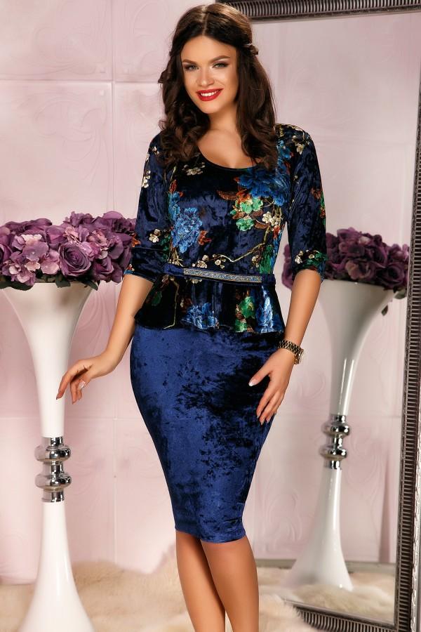 Rochie din catifea bleumarin cu peplum in talie