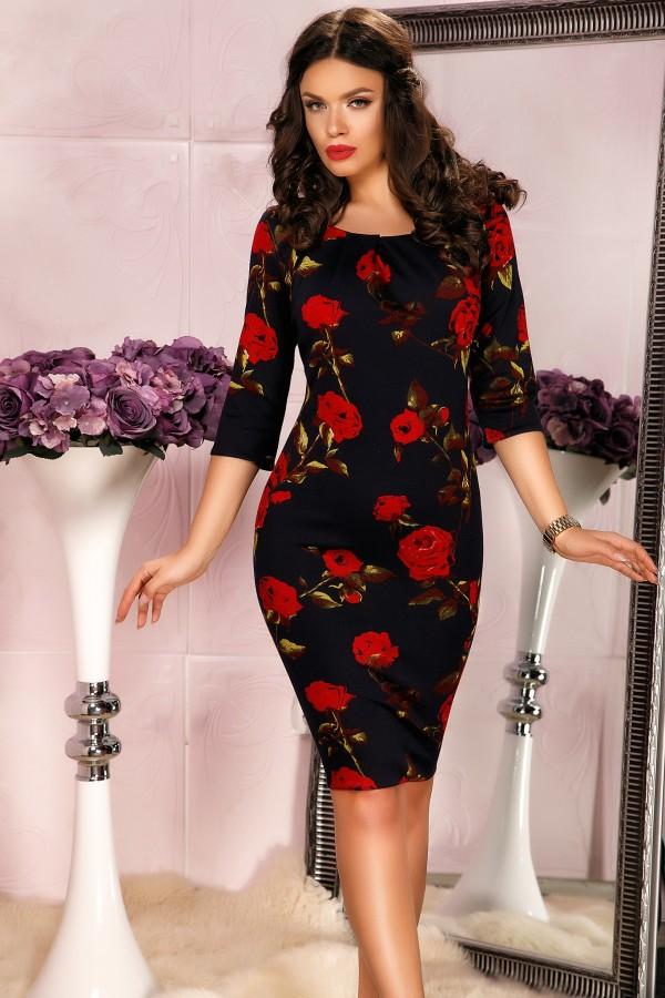 Rochie cu trandafiri imprimati