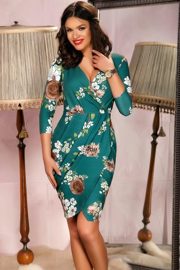 Rochie Bianca verde cu imprimeuri florale