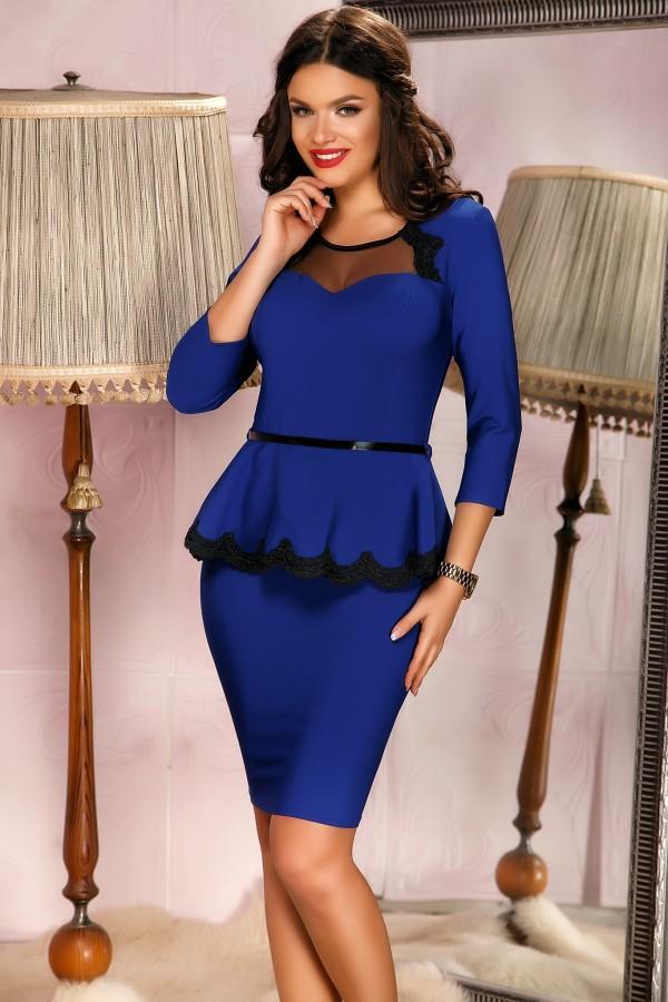 Rochie albastra cu peplum in talie si dantela