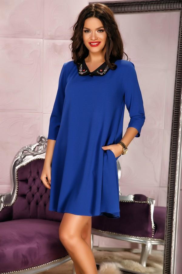 Rochie albastra office cu guler elegant