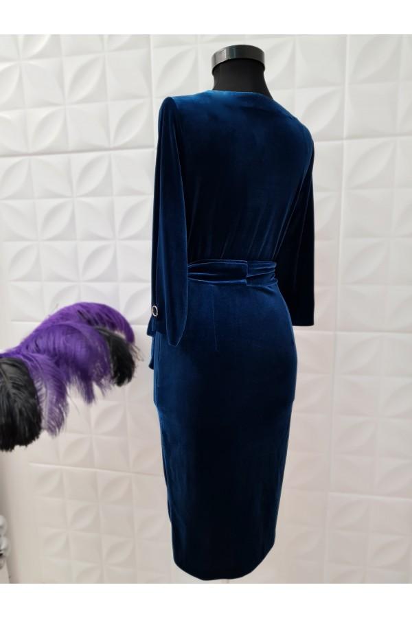 Rochie albastra din catifea cu funda in talie