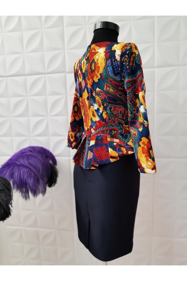Rochie de ocazie cu peplum si imprimeuri