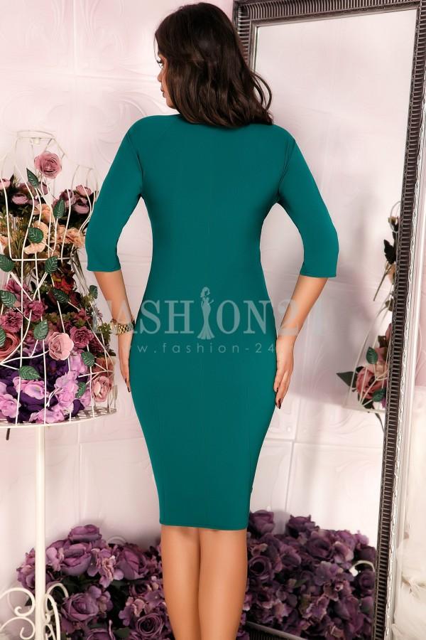 Rochie eleganta verde cu broderie