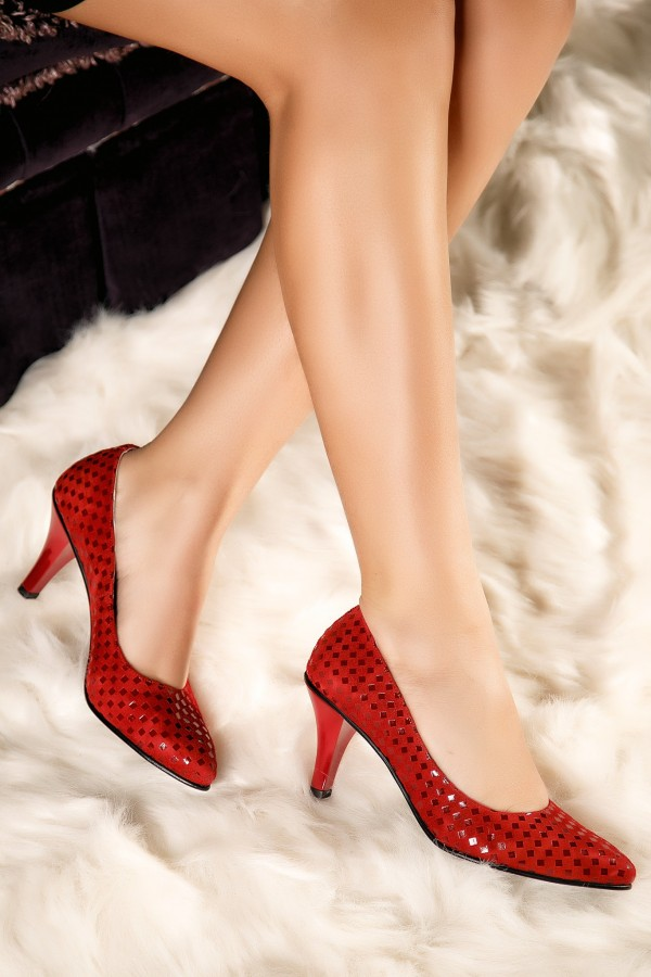 Pantofi stiletto rosii Anda din piele naturala