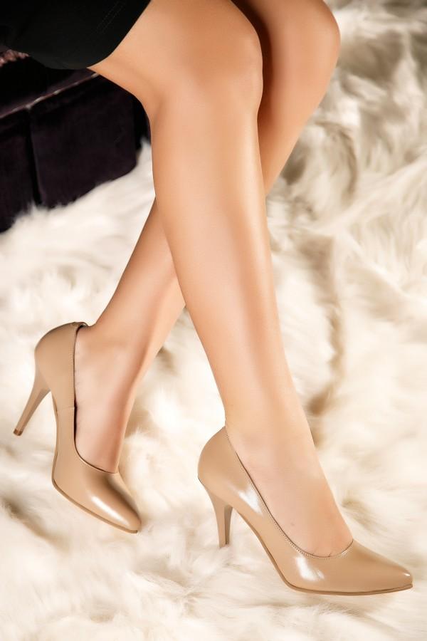 Pantofi stiletto nude Diana din piele naturala