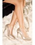 Pantofi stiletto aurii Diana din piele naturala