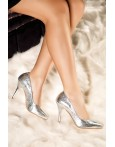 Pantofi stiletto argintii Diana din piele naturala