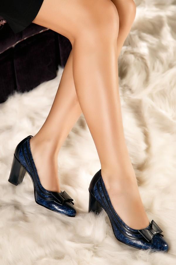 Pantofi de ocazie din piele naturala Anda bleumarin