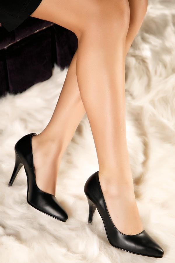 Pantofi stiletto negri Diana din piele naturala