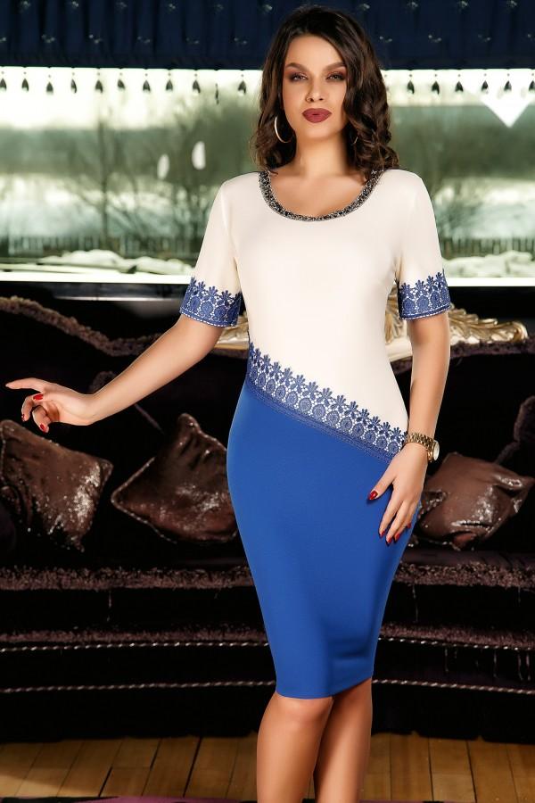 Rochie Izabelle alb bleu