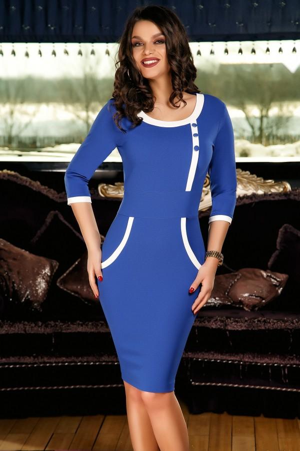 Rochie albastra eleganta cu design