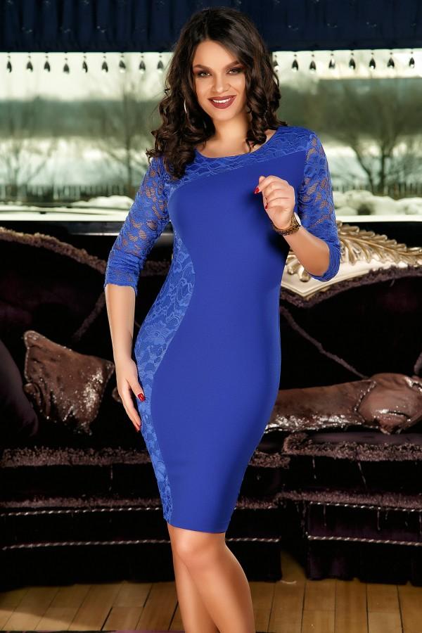Rochie Olivia albastra cu dantela