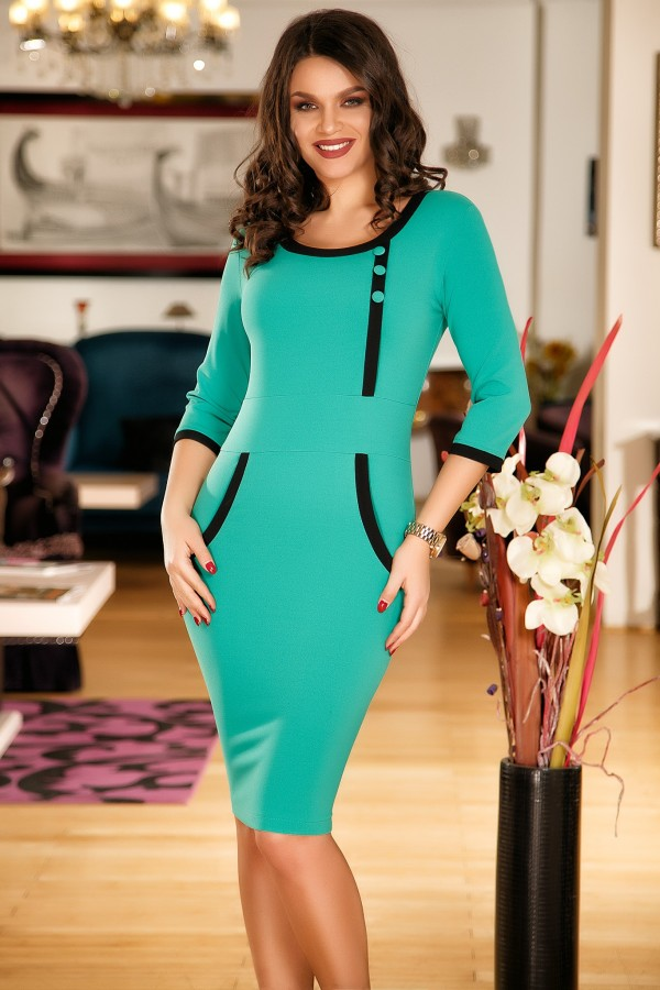Imagine produs Rochie verde eleganta cu design