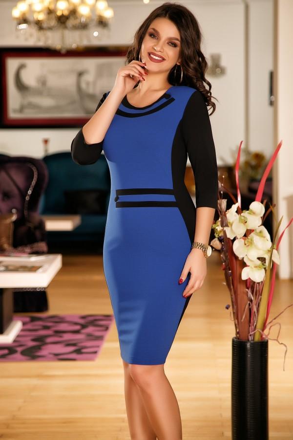 Rochie albastra cu design in talie