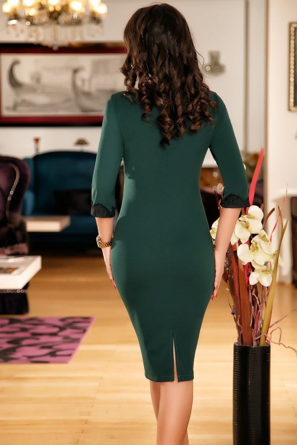 Rochie Hellen verde cu dantela