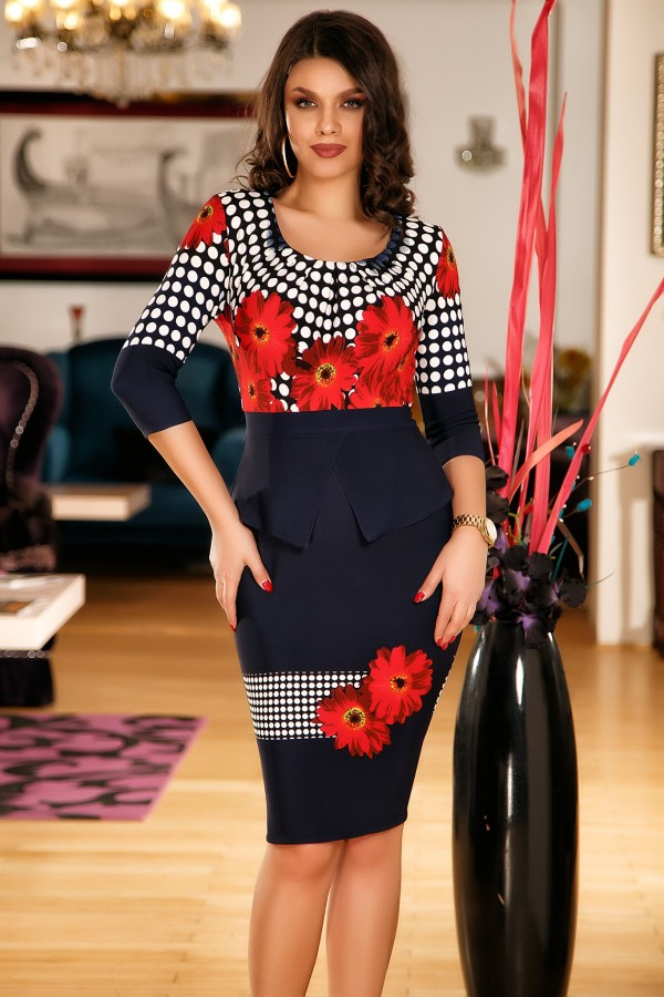 Rochie eleganta cu peplum si imprimeuri