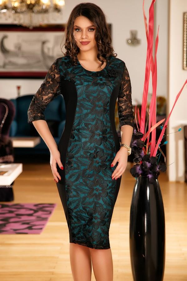 Imagine produs Rochie de seara verde cu dantela
