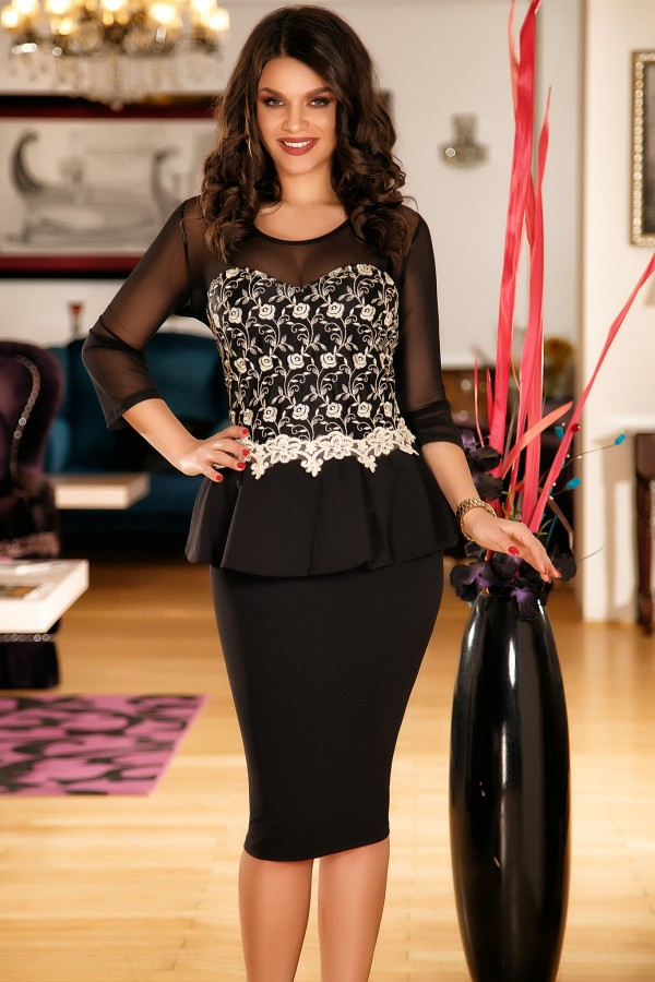 Rochie Alessia neagra cu peplum