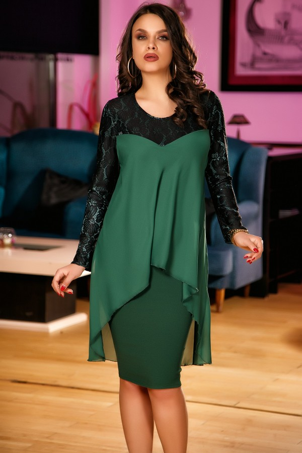 Rochie Marisa verde si negru