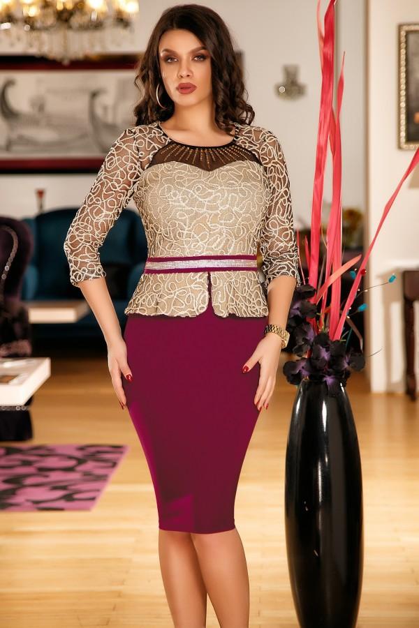 Magazin Online Haine - Rochie Aida bordo de ocazie cu fir auriu -Fashion-4u.Eu