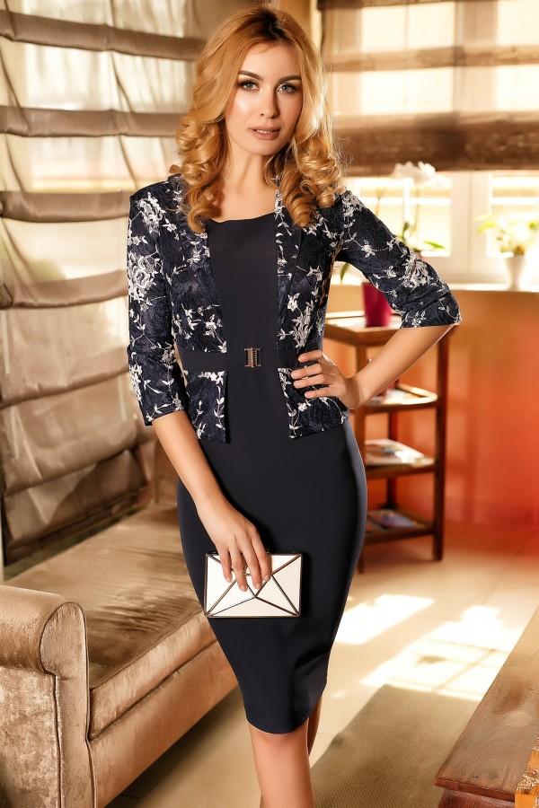 Rochie bleumarin eleganta tip sacou