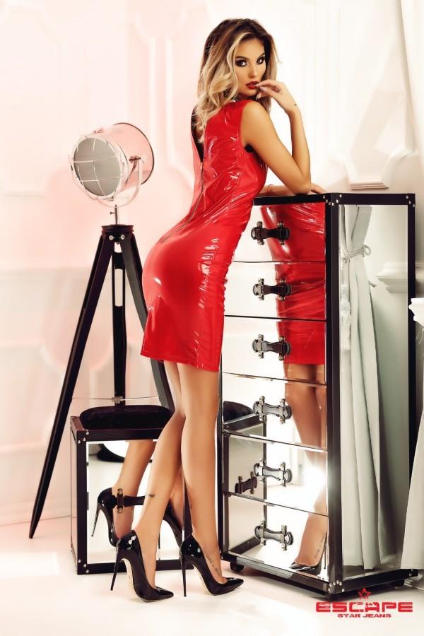 Rochie Yoko rosie din piele ecologica
