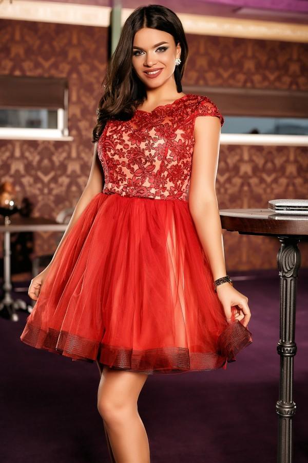Rochie de seara Anais rosu-bej
