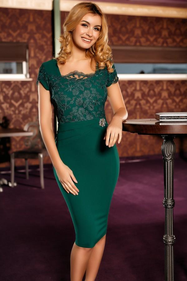 Rochie eleganta Raisa verde
