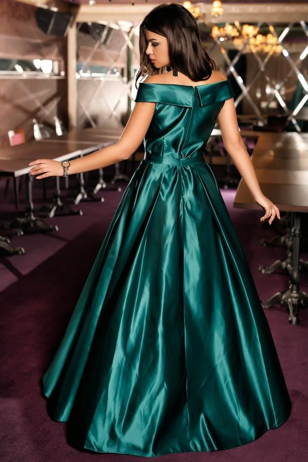 Rochie din Tafta Duchesse verde