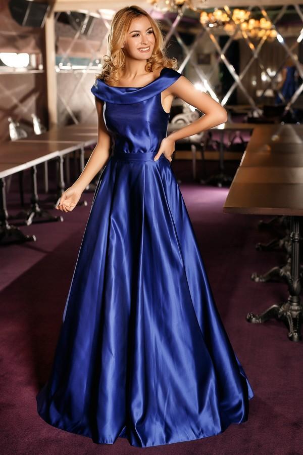 Rochie din Tafta Duchesse albastra