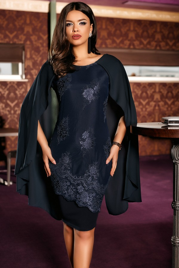 Magazin Online Haine - Rochie bleumarin de seara Elena -Fashion-4u.Eu