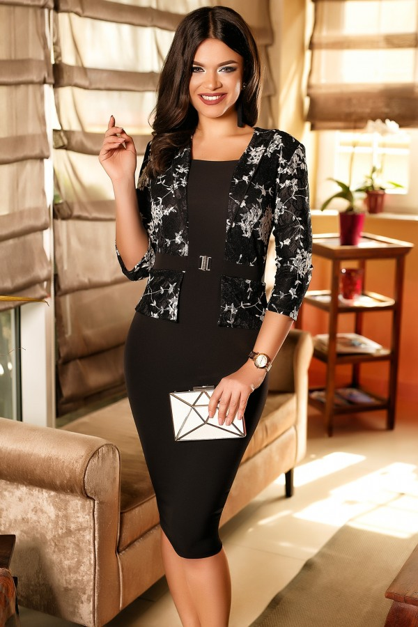 Rochie negru eleganta tip sacou