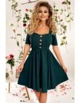 Rochie verde cu cordon si nasturi