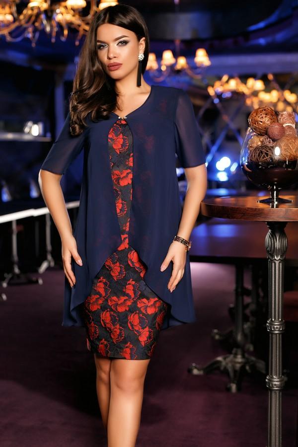 Rochie albastra cu blazer eleganta