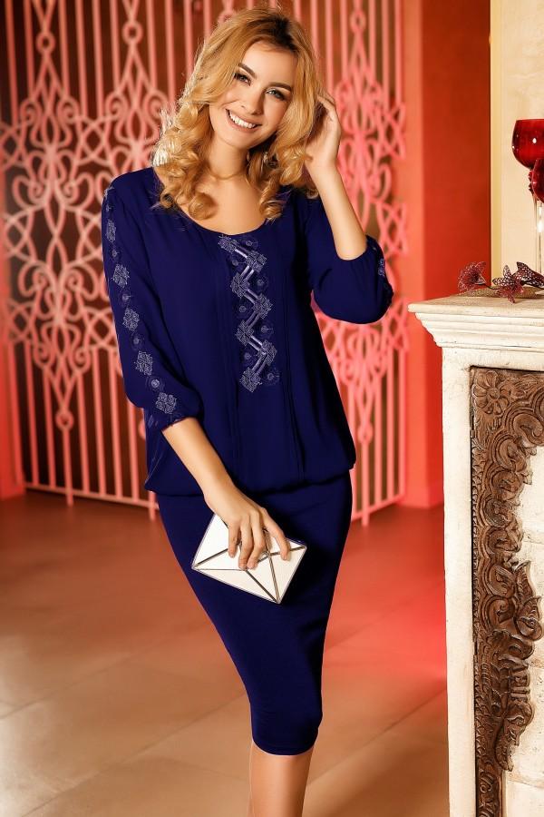Magazin Online Haine - Rochie albastra de seara cu broderie -Fashion-4u.Eu