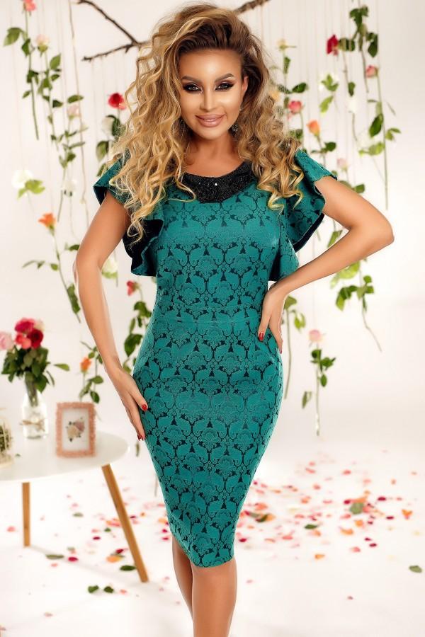 Rochie Eleganta De Seara Turcoaz Cu Manecile Evazate Fashion 24ro