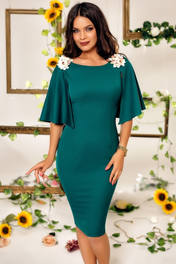 Rochie Emilie verde smarald cu aplicatii florale