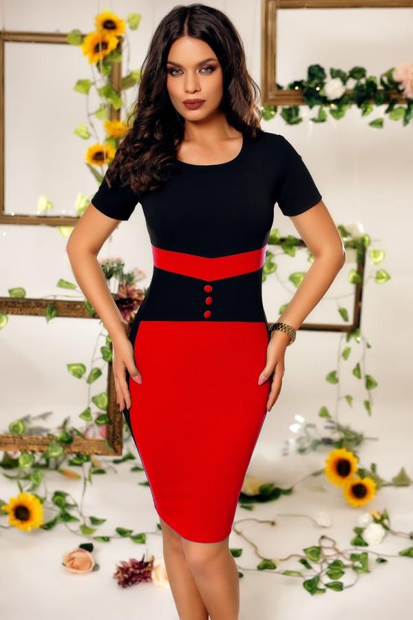 Rochie Lara de ocazie negru rosu