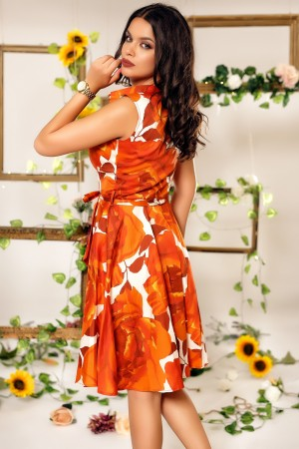 Rochie Iarina portocalie cu imprimeuri