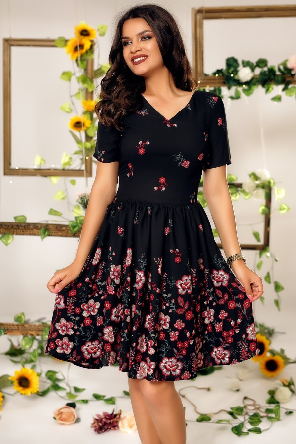 Rochie Janice neagra cu imprimeu floral